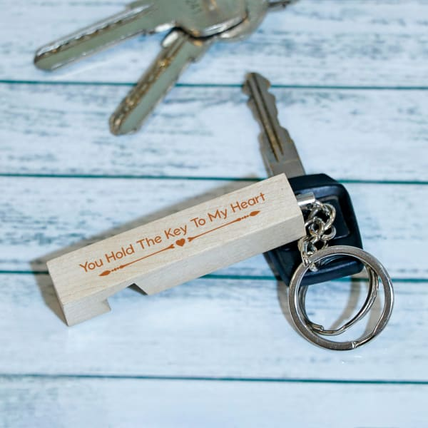 Romantic Personalized Wooden Keychain with Mobile Holder