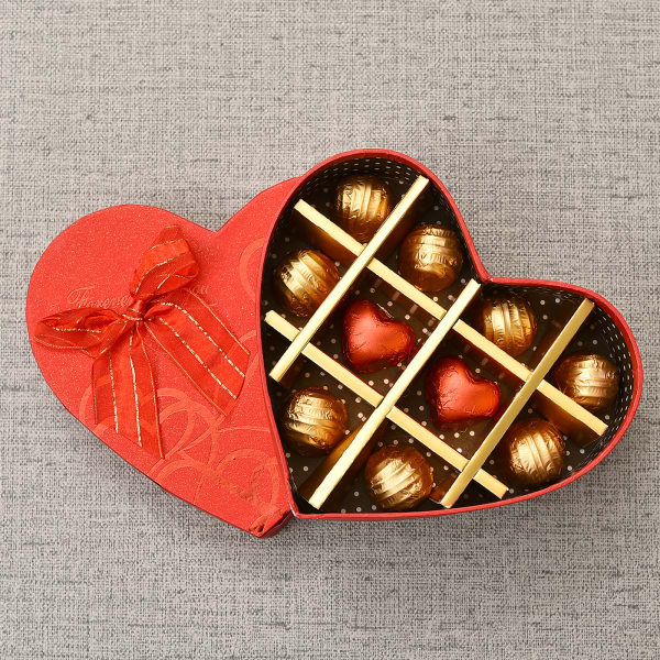 Romantic Red Heart Box Of Assorted Dark And Milk Chocolates 10 Pcs