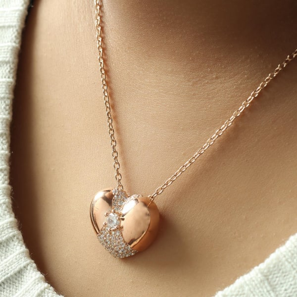 Rose Gold Finish Studded Heart Pendant Necklace