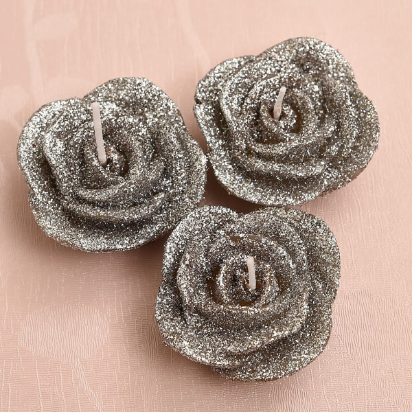Rose Shaped Set Of 3 Small Silver Candles