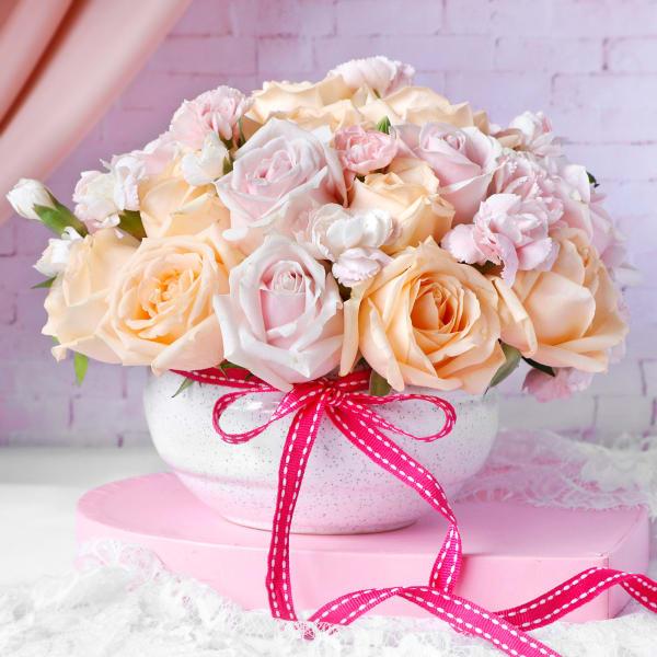 Roses & Carnations in Ceramic Bowl