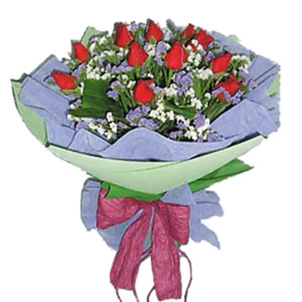 Round Hand-Tied Bouquet Of Red Roses  (without vase)