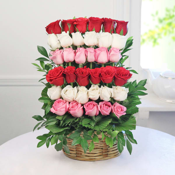 Round Handle Basket of 35 Mixed Roses