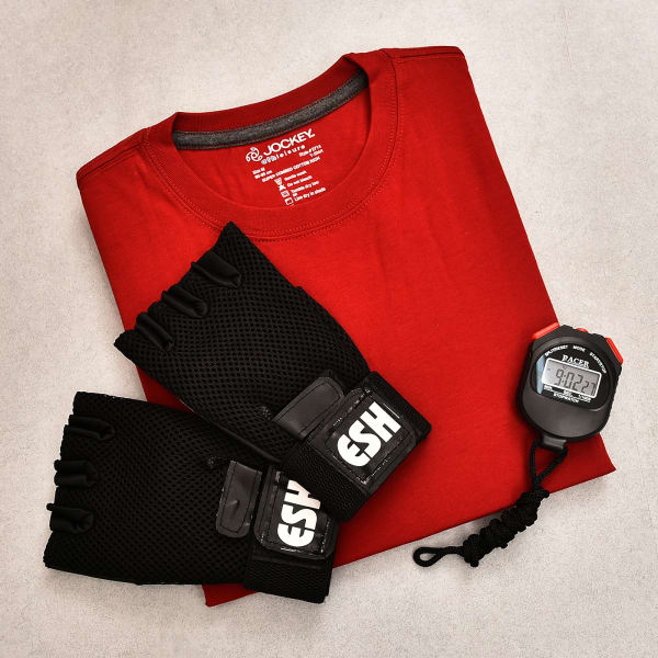 Round Neck T Shirt With Gym Gloves and Stop Watch For Men