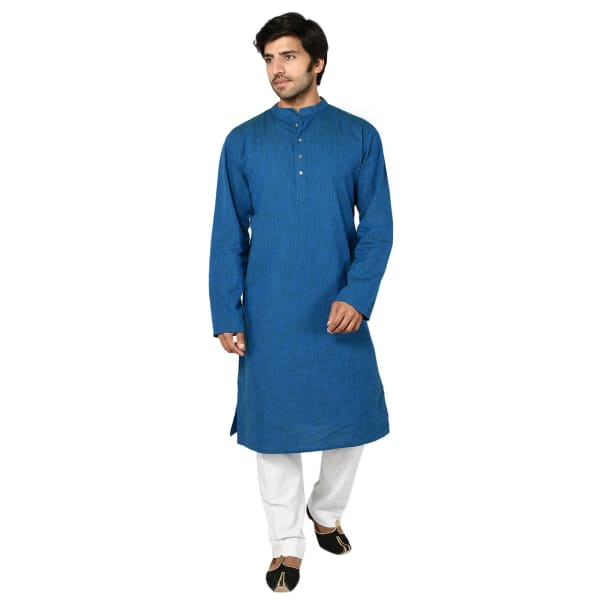 Royal Blue Cotton Long Kurta For Men