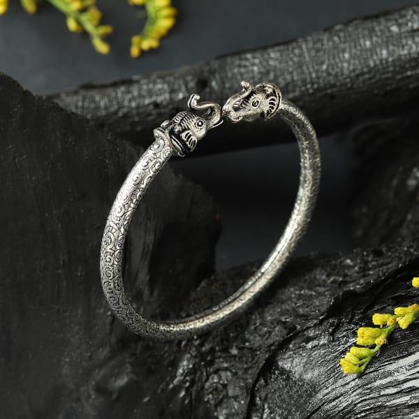 Royal Elephant Oxidized Bracelet
