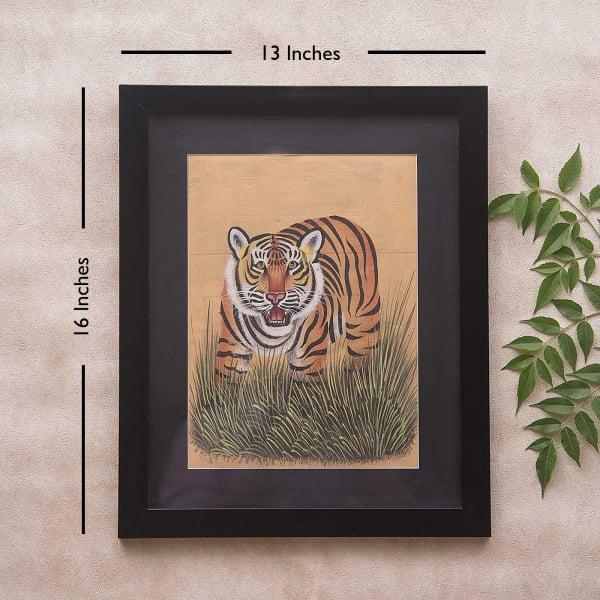 Royal Roar Framed Silk Painting