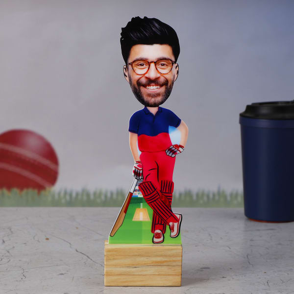 RR Cricket Fan Personalized Caricature Stand