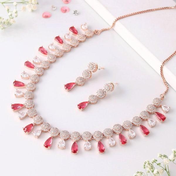 Ruby & White CZ Stone Necklace Set
