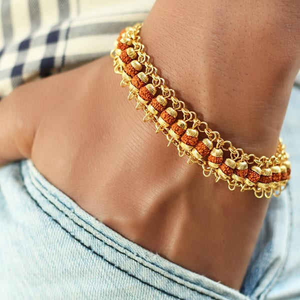 Rudraksh Men's Gold Polish Bracelet