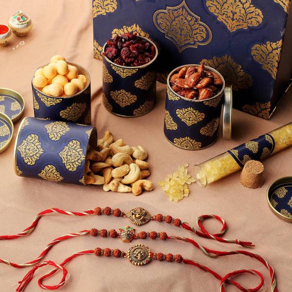 Rudraksh Rakhi Set Of 3 With Premium Gift Box