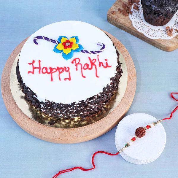 Rudraksh Rakhi With Black Forest Cake (Half kg)
