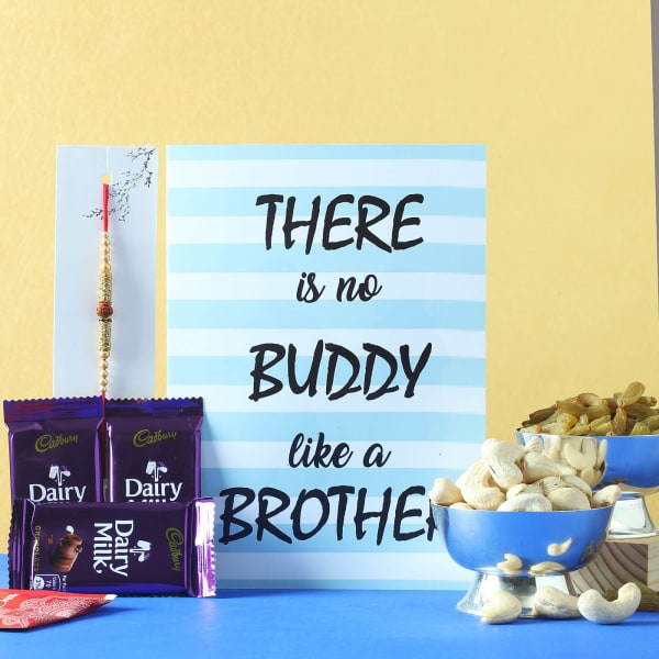Rudraksh Rakhi with Cadbury Chocolates & Greeting Card Hamper