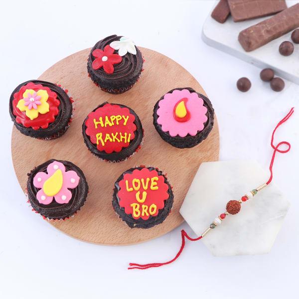 Rudraksh Rakhi With Floral Cupcakes