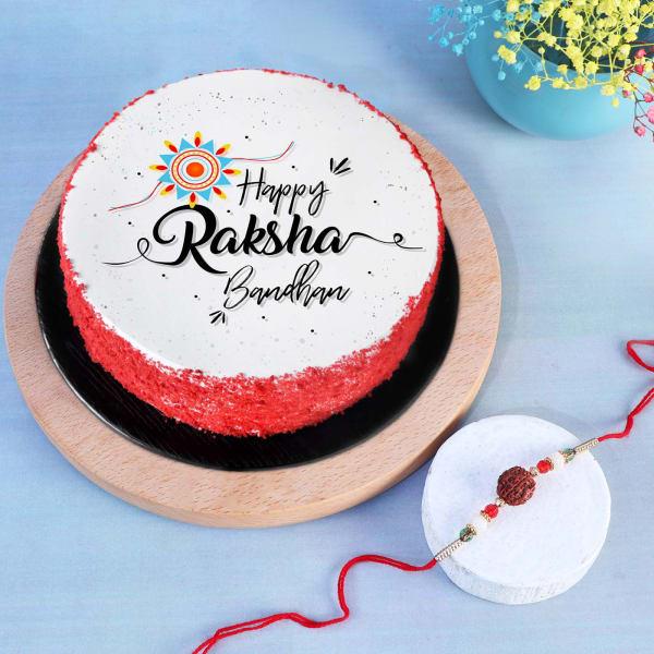 Rudraksh Rakhi With Happy Raksha Bandhan Red Velvet Cake (Half kg)