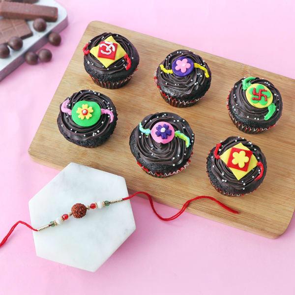 Rudraksh Rakhi With Rakhi Cupcakes