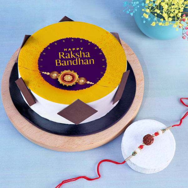 Rudraksh Rakhi With Rakshabandhan Poster Cake (Half kg)