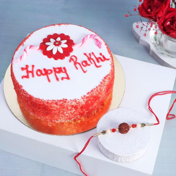 Rudraksh Rakhi With Red Velvet Cake (Half kg)
