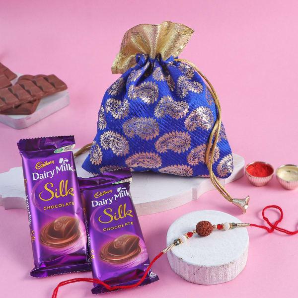 Rudraksh Rakhi With Smooth Chocolates In Potli