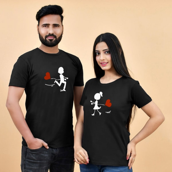 Running to Each Other Black T-Shirts for Couples