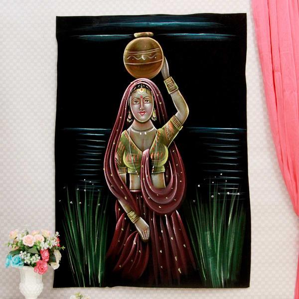 Rustic Maiden Velvet Painting