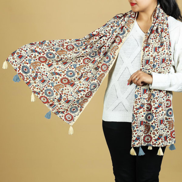Sanganeri Printed Cotton Stole with Tassels