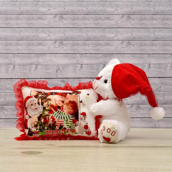 Santa Teddy with Pillow
