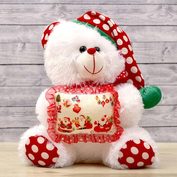 Santa Teddy with Polka Cap
