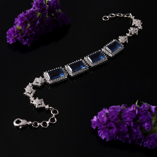 Sapphire CZ Stones Studded Silver Plated Women's Bracelet