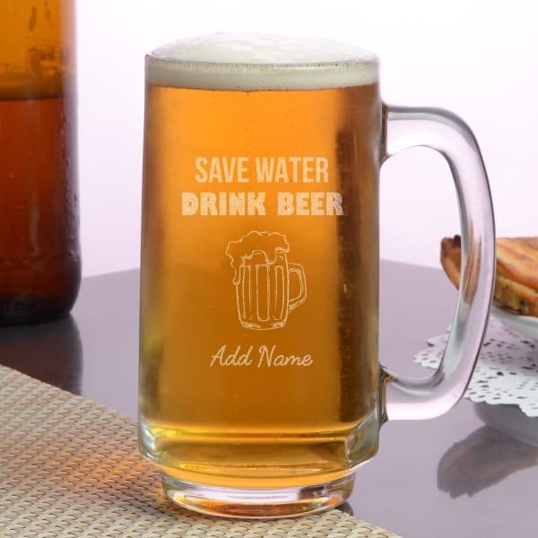 Save Water & Drink Beer Personalized Beer Mug