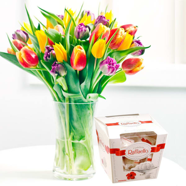 Seasonal bouquet of tulips and Raffaello candies