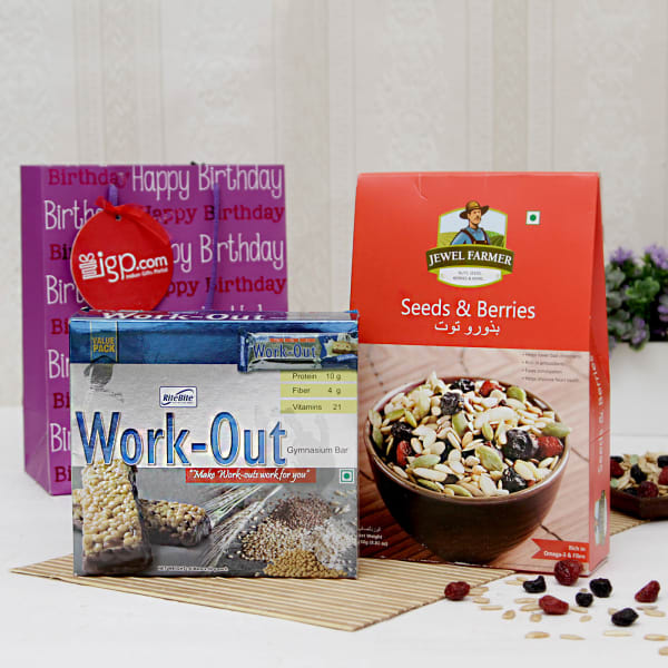 Seeds Berries With Work Out Protein Bar Pack Hamper In A Bag