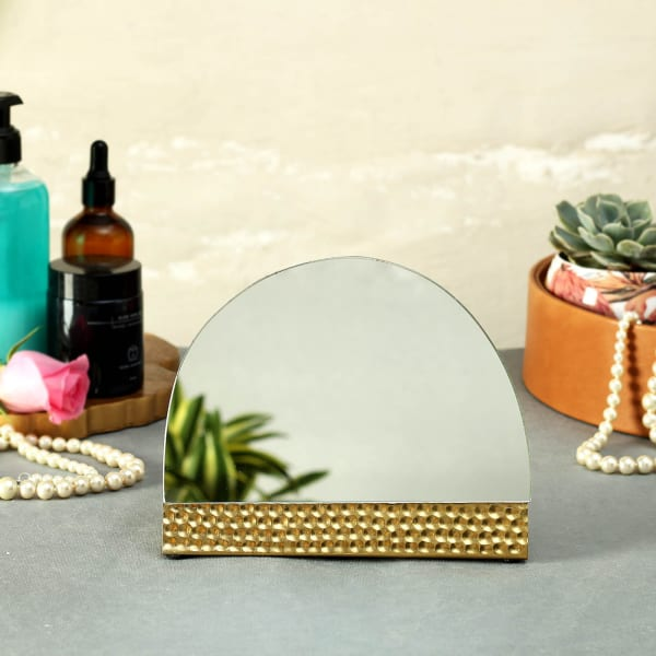 Semi Circle Mirror in Brass Hammered Base