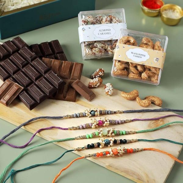 Semi Precious Stone Rakhis With Premium Goodies