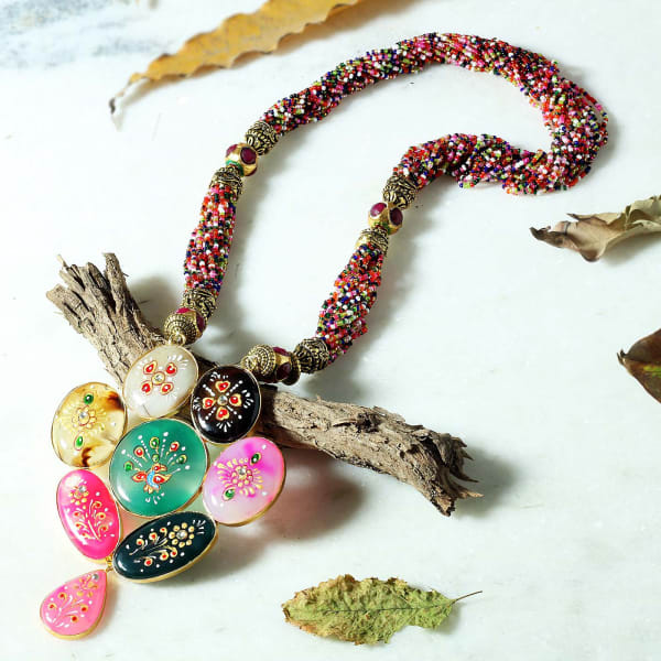 Semi Precious Stones Work Tribal Design Embossed  Painted Necklace