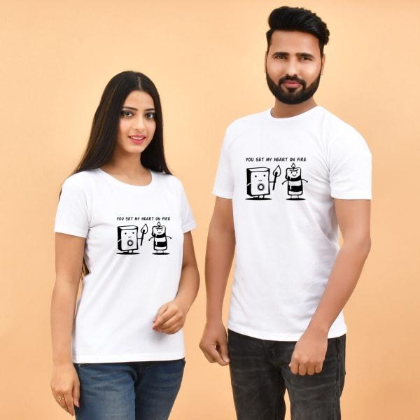 Set My Heart On Fire White Couple T-shirt