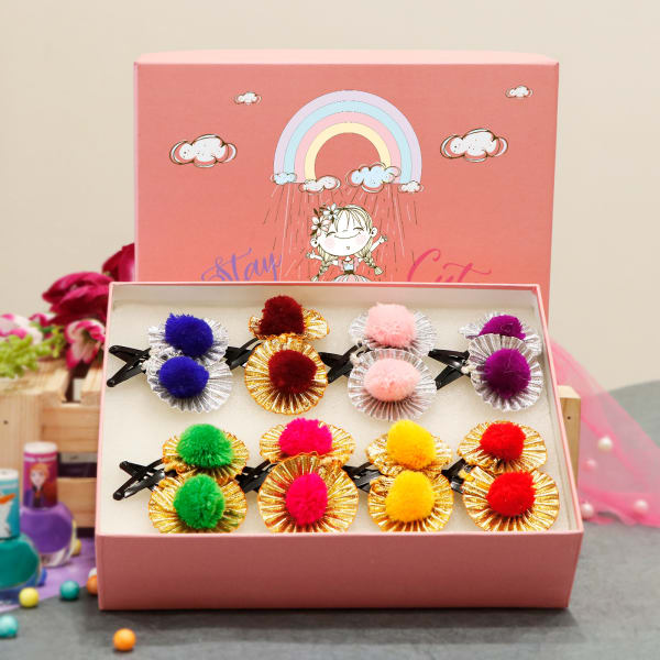 Set of 16 Hairclips for Girls in Personalized Box