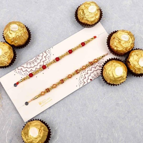 Set of 2 Beads Rakhi with Ferrero Chocolates (16 Pcs)
