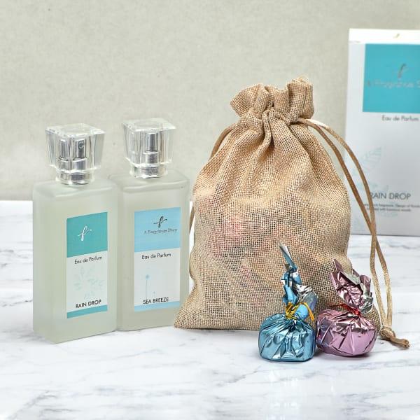 Set of 2 Fragrances with Handmade Chocolates in Potli