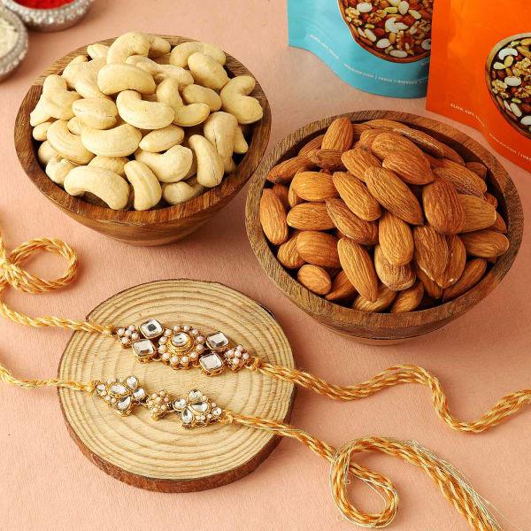 Set Of 2 Kundan Rakhi With Cashews And Almonds
