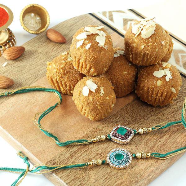 Set of 2 Semi Precious Rakhi with Besan Ladoo