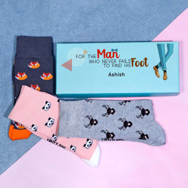 Set of 3 Animal Printed Socks in Personalized Gift Box