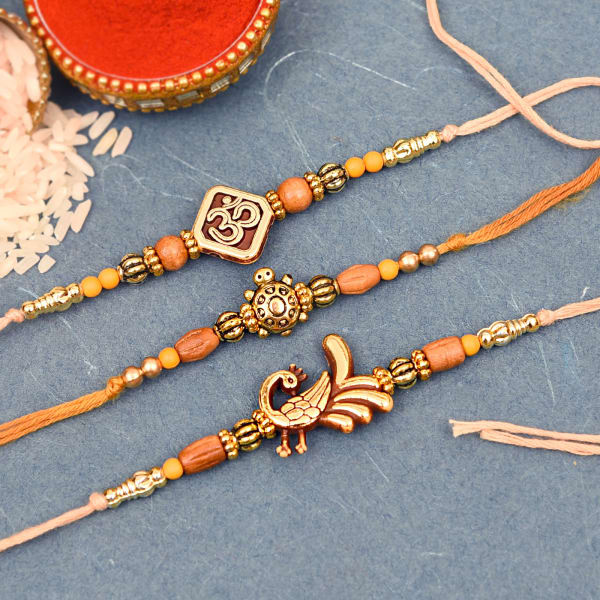 Set of 3 Metallic Beaded Rakhi