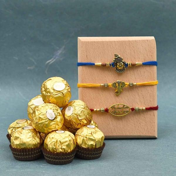 Set of 3 Rakhi with Ferrero Rocher Chocolate (16 Pcs)