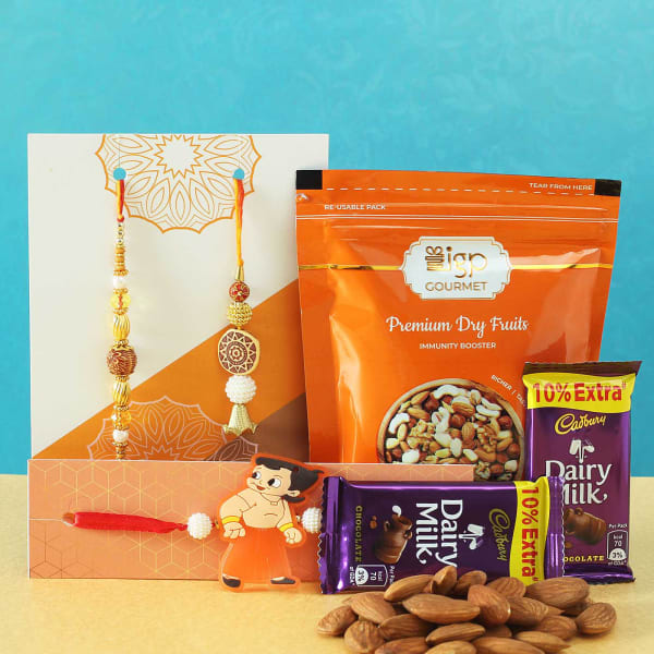 Set of 3 Rakhi with Premium Dry Fruits & Chocolates