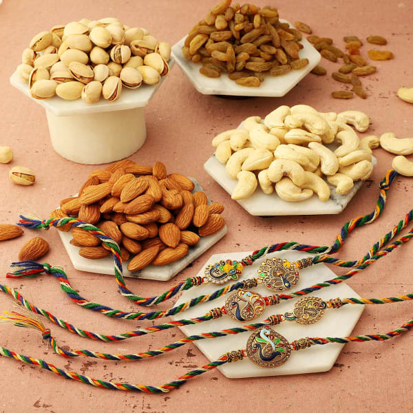 Set Of 5 Peacock Rakhi With Dry Fruits