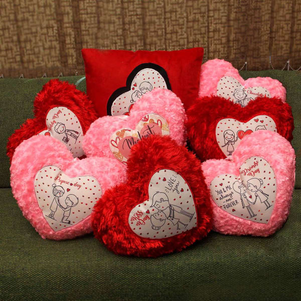Set Of 8 Love Cushions With Messages For Valentine Week