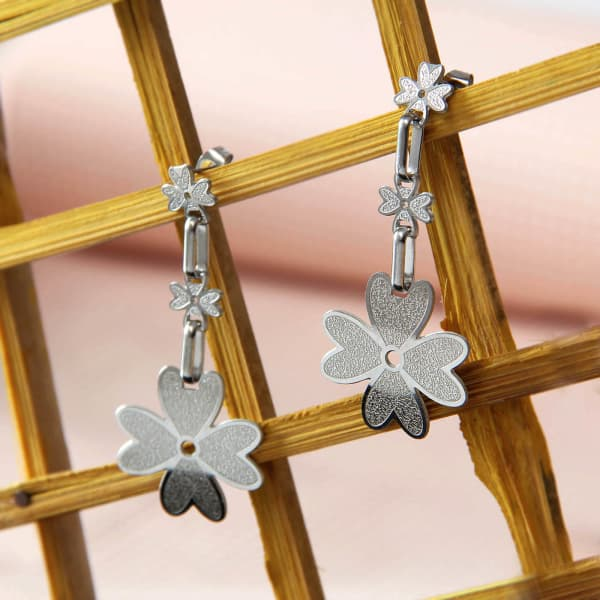 Shamrock Designed Silver Plated Dangling Earrings
