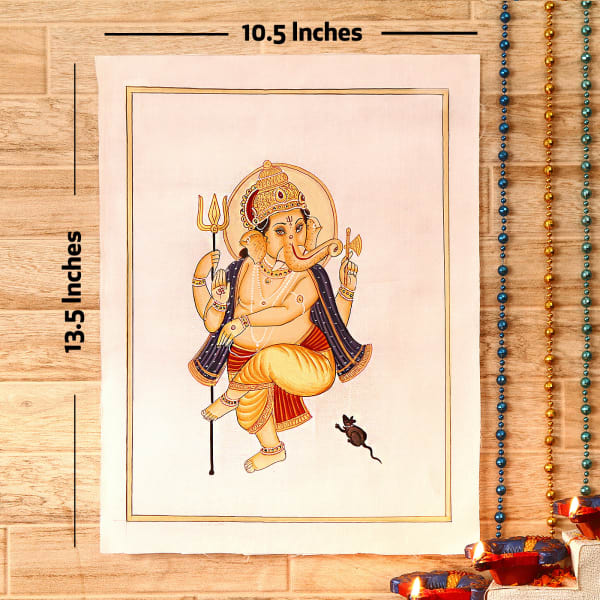 Shiv Balak Gold Idol Silk Painting