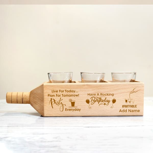 Shot Glasses with Personalized Wooden Bottle Shaped Holder for Birthday